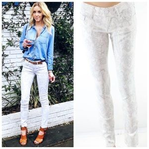 BLACK ORCHID ✨ White Printed Skinny Jeans